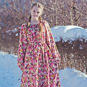 """Одежда ручной работы. Ярмарка Мастеров - ручная работа Длинное теплое платье """"Цветочное"""". Handmade."""