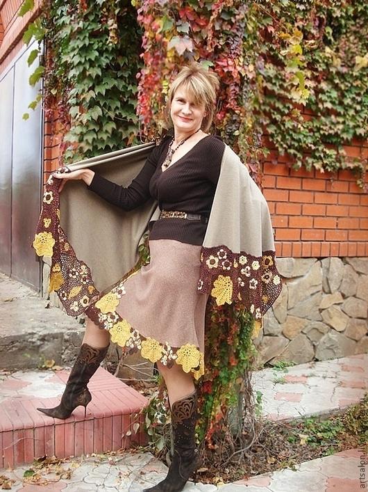 """Шали, палантины ручной работы. Ярмарка Мастеров - ручная работа. Купить Комплект  """"Осень"""". Handmade. Коричневый, элегантный"""