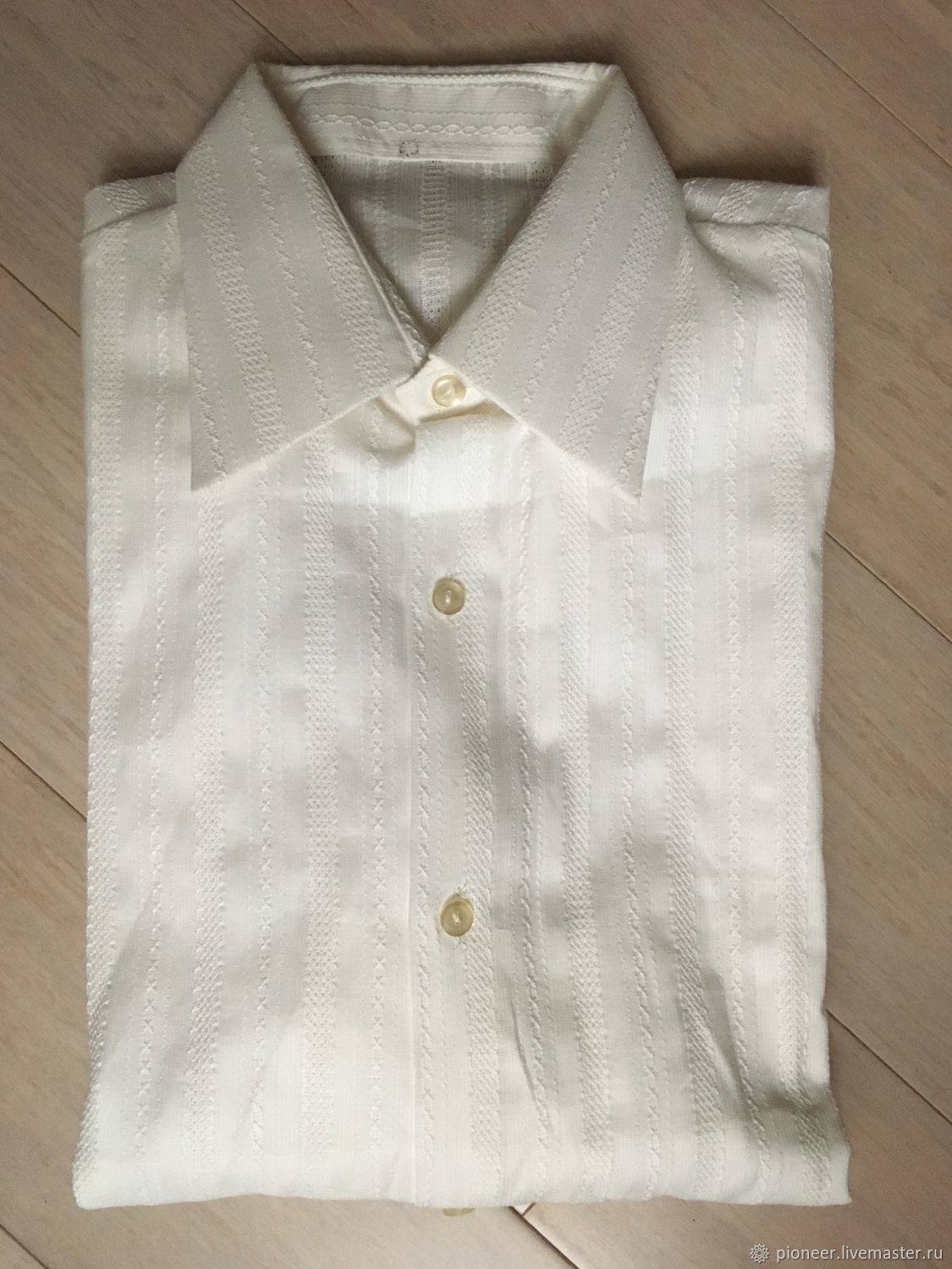 Vintage white men's shirt with a curly weave 40 times. USSR, Vintage clothing, St. Petersburg,  Фото №1