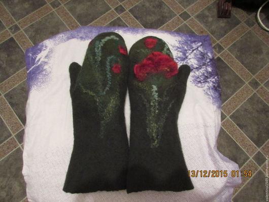 Варежки, митенки, перчатки ручной работы. Ярмарка Мастеров - ручная работа. Купить Варежки для зимы. Handmade. Тёмно-зелёный