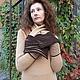 Платья ручной работы. Платье + шарф с защипами. Алексеенко Инга. Ярмарка Мастеров. Темно-коричневый, бежевый