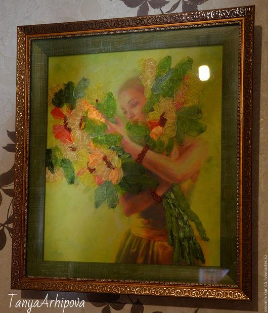 Картины цветов ручной работы. Ярмарка Мастеров - ручная работа. Купить Девушка с букетом. Handmade. Комбинированный, Вышивка лентами, букет