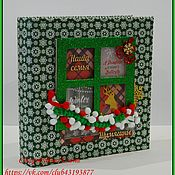"""Канцелярские товары ручной работы. Ярмарка Мастеров - ручная работа Альбом с файловым блоком """"Новогодний"""" зеленый. Handmade."""
