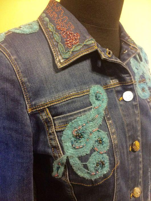 Пиджаки, жакеты ручной работы. Ярмарка Мастеров - ручная работа. Купить джинсовая курточка (ДЕКОРИРОВАНИЕ). Handmade. Тёмно-синий
