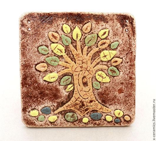Панно керамическое настенное Кофейное дерево. Авторская керамика Ксении Гольд