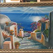 Картины и панно ручной работы. Ярмарка Мастеров - ручная работа Картина маслом, Греция..мечты... Handmade.