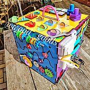 """Бизиборды ручной работы. Ярмарка Мастеров - ручная работа Бизибокс """"звездный"""" со звуком и светом. Handmade."""