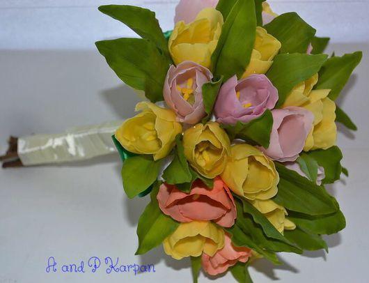 """Свадебные цветы ручной работы. Ярмарка Мастеров - ручная работа. Купить Букет невесты """"Тюльпаны"""". Handmade. Тюльпан, полимерная глина"""