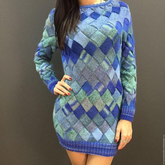 Кофты и свитера ручной работы. Ярмарка Мастеров - ручная работа. Купить Удлиненный свитер/платье. Handmade. Голубой, пуловер вязаный