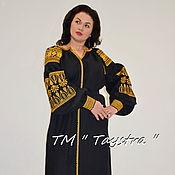 Одежда ручной работы. Ярмарка Мастеров - ручная работа Вышитое платье, этно, стиль бохо шик черное платье с золотой вышивкой. Handmade.