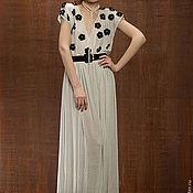 Одежда ручной работы. Ярмарка Мастеров - ручная работа Платье в горох с бархатными цветочками LIPA SS13. Handmade.