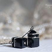 """Украшения ручной работы. Ярмарка Мастеров - ручная работа Серьги """"Куб"""" черные серебряные 925. Handmade."""