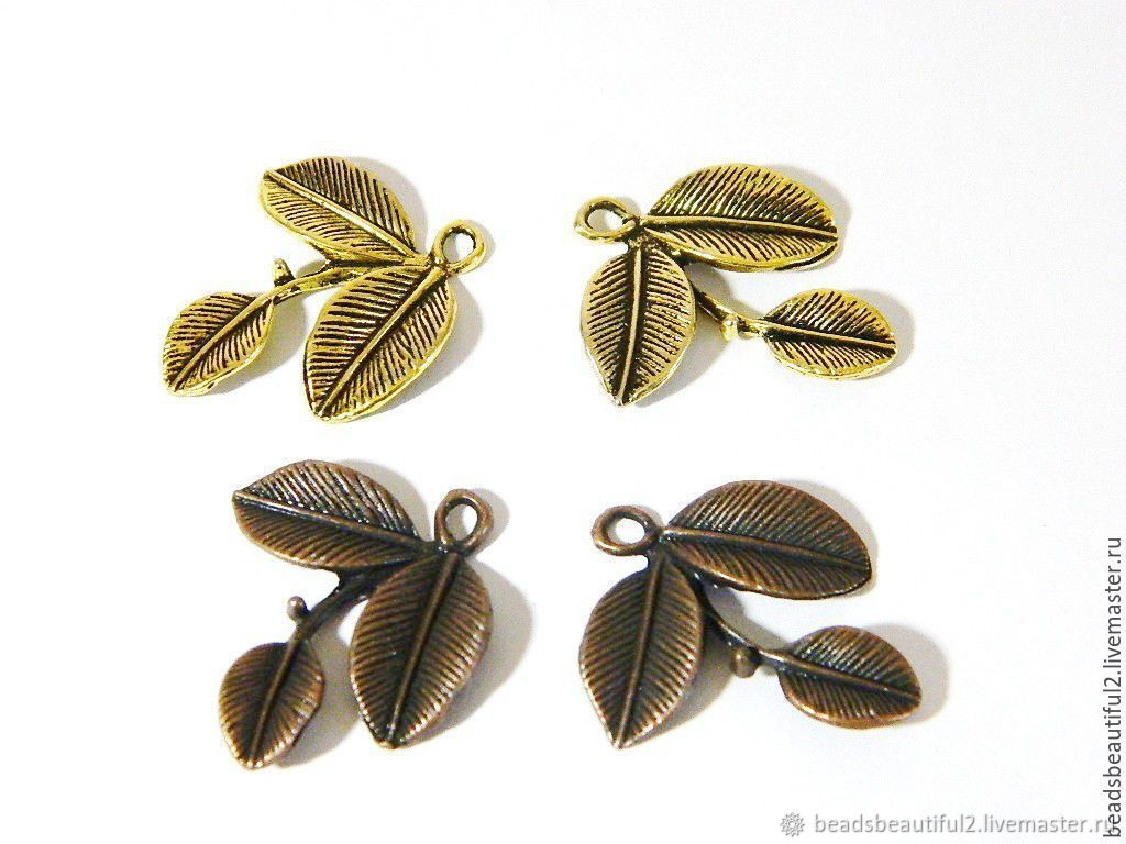 Twig leaves color 'Beauty Copper', 23h27 mm. for PCs, Accessories4, Saratov,  Фото №1