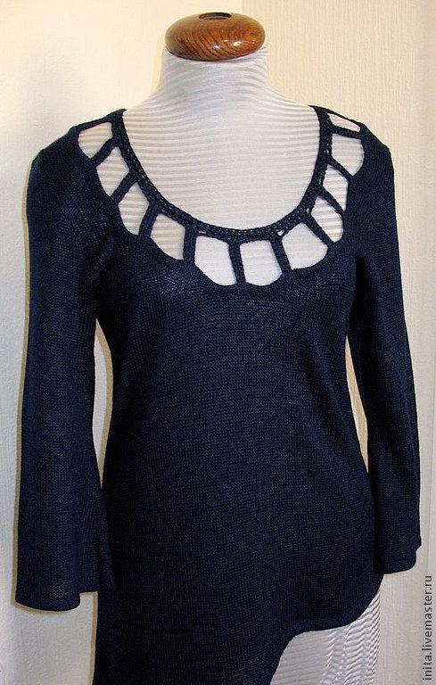 Кофты и свитера ручной работы. Ярмарка Мастеров - ручная работа. Купить Топ Туника ( шерсть,акрил)  тёмно-синая вязанная. Handmade.