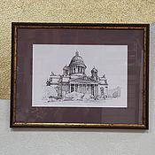 handmade. Livemaster - original item City black and white drawing picture St. Isaac`s Cathedral graphics 30 by 40. Handmade.