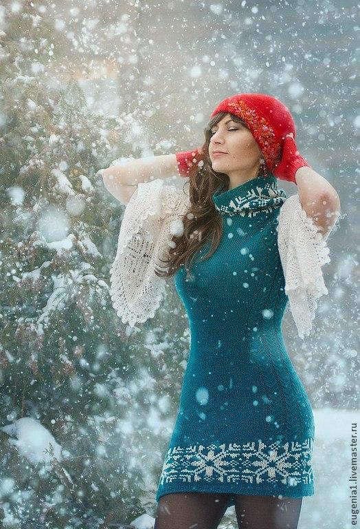 """Платья ручной работы. Ярмарка Мастеров - ручная работа. Купить Платье """"Изумрудные снежинки"""". Handmade. Тёмно-зелёный, 100% шерсть"""