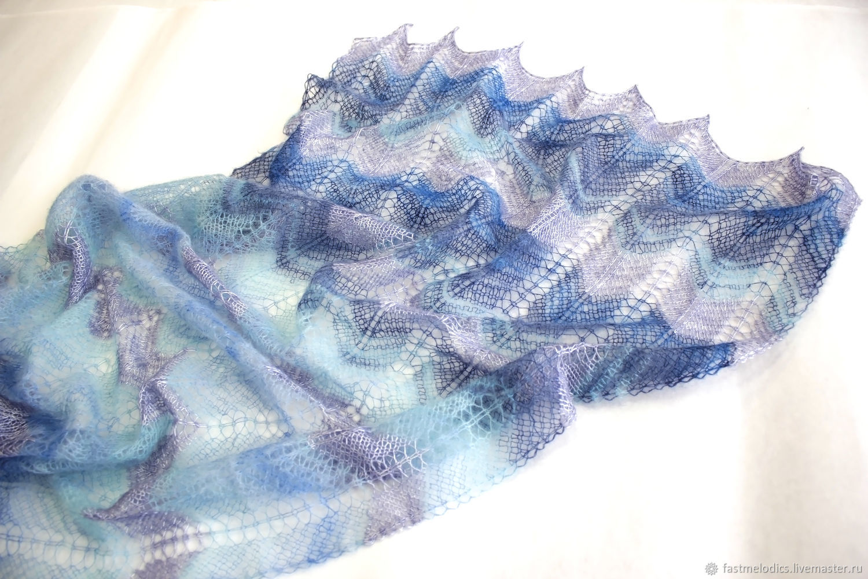 Вязаный ажурный палантин в сине-лавандовых тонах, Палантины, Ногинск,  Фото №1