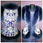 Одежда ручной работы. Ярмарка Мастеров - ручная работа Жилет из платка с синем песцом. Handmade.