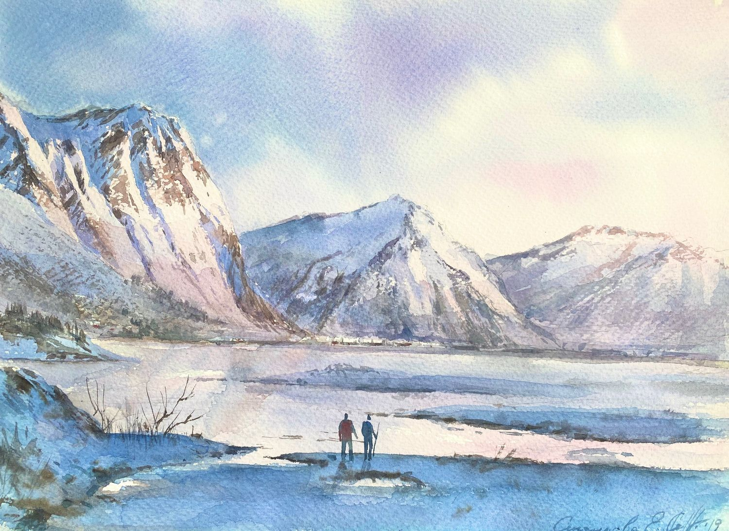 Painting of the mountain 'Norwegian fjords' watercolor, Pictures, Moscow,  Фото №1