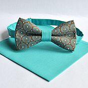 Аксессуары handmade. Livemaster - original item Butterfly brown turquoise Retro circles Scarf, turquoise wedding. Handmade.