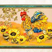 Картины и панно ручной работы. Ярмарка Мастеров - ручная работа Панно вышивка лентами - Петух. Handmade.