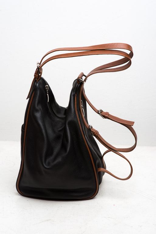 Рюкзаки ручной работы. Ярмарка Мастеров - ручная работа. Купить Сумка-рюкзак из натуральной кожи.. Handmade. Черный