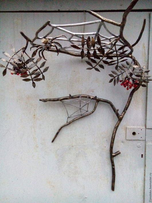 Прихожая ручной работы. Ярмарка Мастеров - ручная работа. Купить вешалка ветка рябины с паутиной. Handmade. Черный, патина