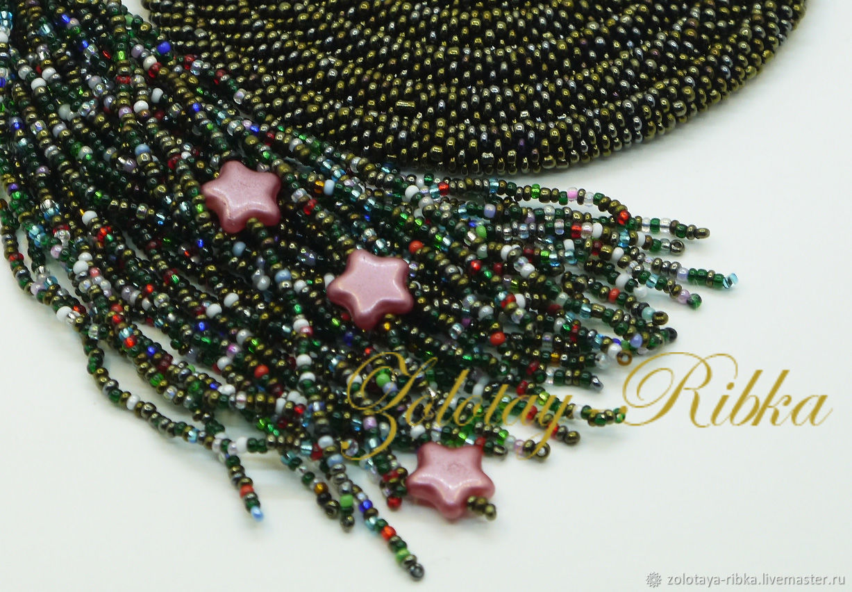 Handmade jewelry. Lariat Brown sparkle beaded harness. Jewelry from Gold fish. Fair Masters