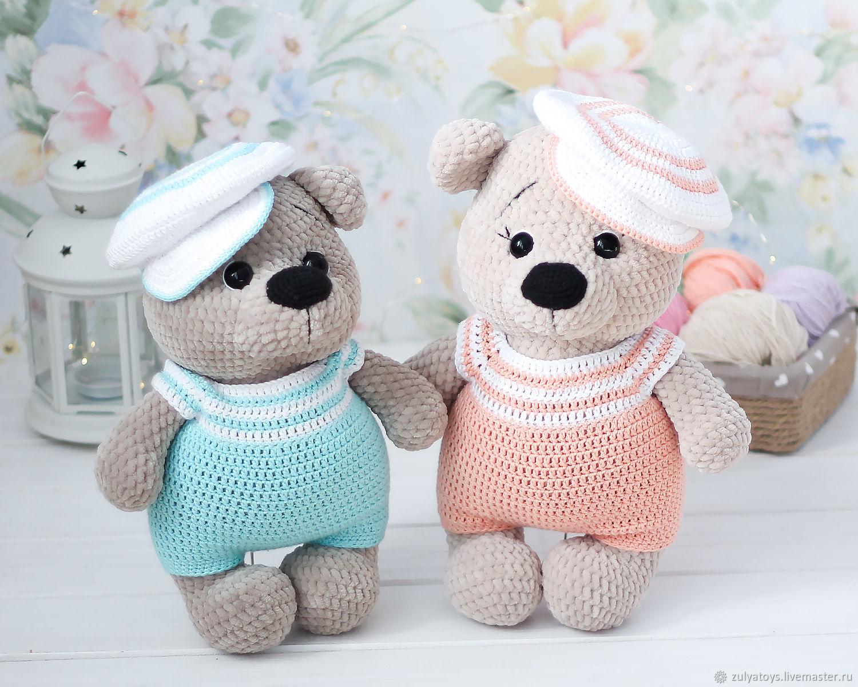 Плюшевый мишка в комбинезоне и кепке, Мягкие игрушки, Уфа,  Фото №1