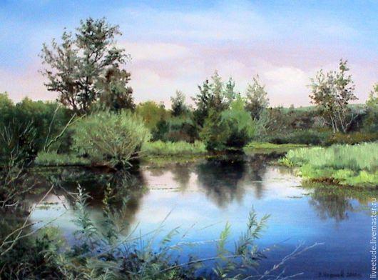 Спокойные оттенки придают спокойствие и умиротворение,летний тихий день,прохлада у воды.Купить картину,купить картину маслом,пейзаж,вода,купить живопись,купить подарок,картина,картина на холсте