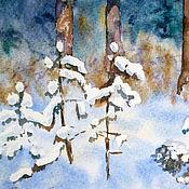 Картины и панно ручной работы. Ярмарка Мастеров - ручная работа Акварель. На опушке леса.. Handmade.