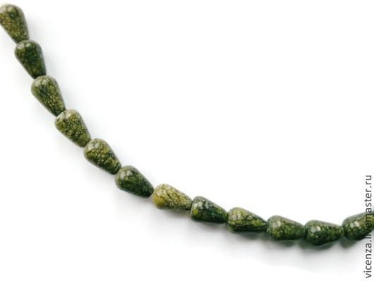 Змеевик капля 11 х 8 мм , бусины для украшений