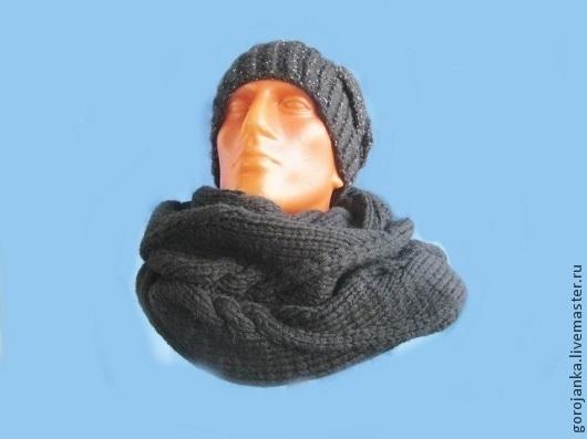Шарфы и шарфики ручной работы. Ярмарка Мастеров - ручная работа. Купить Вязаный снуд, шарф мужской. Handmade. Черный