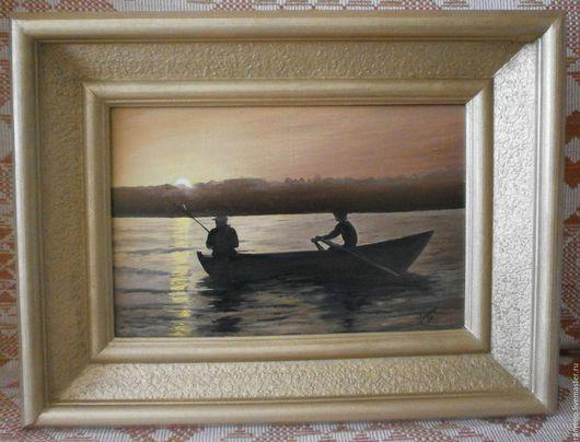 Пейзаж ручной работы. Ярмарка Мастеров - ручная работа. Купить рыбачки. Handmade. Картина на холсте, вечерняя рыбалка