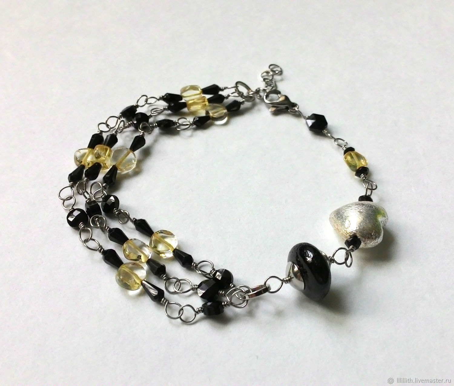 The bracelet is made of spinel and citrine, Bead bracelet, Moscow,  Фото №1