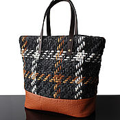 Сумки и аксессуары handmade. Livemaster - original item Weekend Mood, Tweed bag, cage, leather bag. Handmade.
