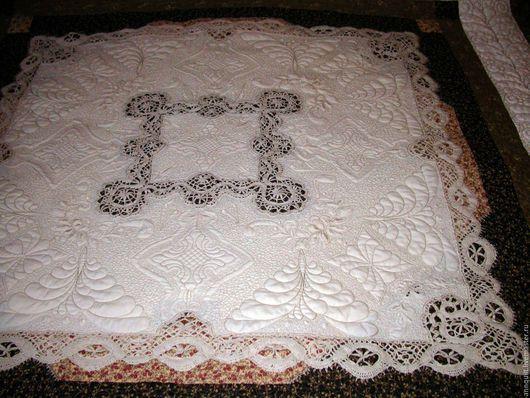"""Текстиль, ковры ручной работы. Ярмарка Мастеров - ручная работа. Купить """"Кружева и шоколад"""" покрывало лоскутное. Handmade. Коричневый, квилтинг"""