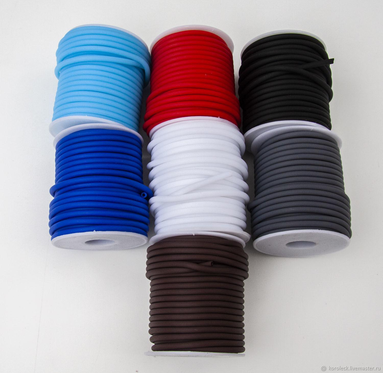 Полый силиконовый шнур диаметром 4 мм, Шнуры, Москва,  Фото №1