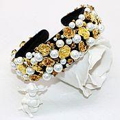 Украшения handmade. Livemaster - original item Headband with roses and pearls in the style of Dolce & Gabbana. Handmade.