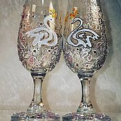 Посуда handmade. Livemaster - original item Wedding glasses with stained glass painting
