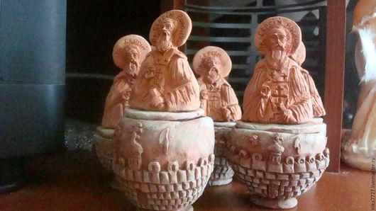 Шкатулки из обожженой глины Сергий Радонежский, ручная работа