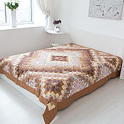 Для дома и интерьера handmade. Livemaster - original item Patchwork Beige 220x225 cm double bedspread. Handmade.
