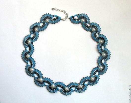 """Колье, бусы ручной работы. Ярмарка Мастеров - ручная работа. Купить Ожерелье """"Жемчужница"""". Handmade. Голубой, ожерелье из жемчуга"""