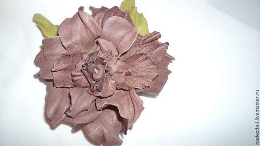 """Броши ручной работы. Ярмарка Мастеров - ручная работа. Купить Брошь из кожи """"Розовое Какао..!!"""". Handmade. Кожа натуральная"""