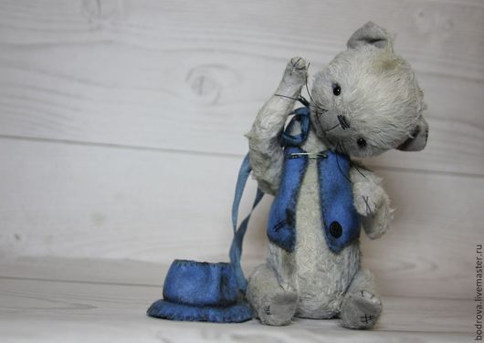 Мишки Тедди ручной работы. Ярмарка Мастеров - ручная работа. Купить Кот Смайлик. Handmade. Серый, подарок