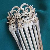 Украшения ручной работы. Ярмарка Мастеров - ручная работа гребень с растительным орнаментом. Handmade.