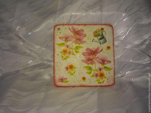 """Кухня ручной работы. Ярмарка Мастеров - ручная работа. Купить Досочка """"Розовые цветы"""". Handmade. Розовый, подарок девушке"""
