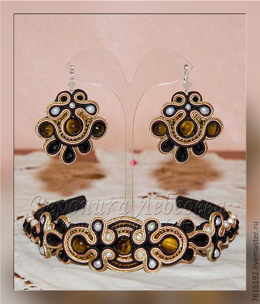 Диадемы, обручи ручной работы. Ярмарка Мастеров - ручная работа. Купить Сутажный комплект Tribute to Dolce & Gabbana. Handmade.