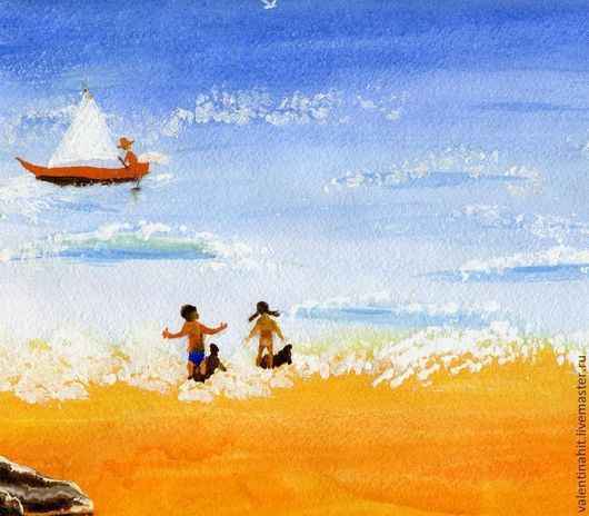 """Пейзаж ручной работы. Ярмарка Мастеров - ручная работа. Купить картина """"Жаркое лето"""" (желтый, голубый). Handmade. Желтый, картина"""