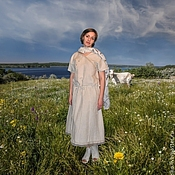 """Одежда ручной работы. Ярмарка Мастеров - ручная работа """"Пастораль"""" Платье льняное летнее с необычной вышивкой. Handmade."""